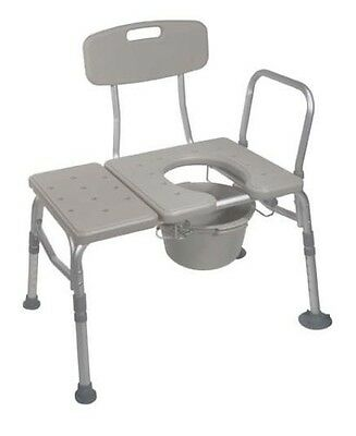 Drive Medical Combination Plastic Transfer Bench w/ Commode Opening, 400lb Cap.