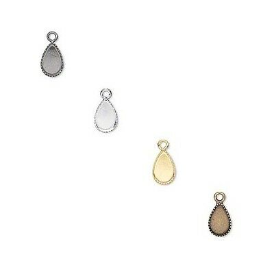 6 Small Pear Bezel Cup Charm Setting Findings w/ Loop for 8mm x 5mm Flat Back