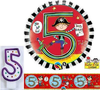 "Age 5/5th Birthday Pirate Rachel Ellen Foil Banner, 18"" Balloon & 5 Candle"