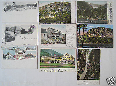 WHITE MOUNTAINS NH 9 POSTCARDS PRIVATE MAILING CARD Summit House THE FLUME NOTCH
