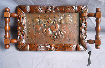 Vintage Carved Solid Walnut Wood Tray/Platter w/Carvings Feat. Mixed Fruit (#1)