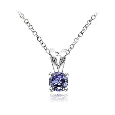 Sterling Silver 1/2ct Tanzanite Round Solitaire Necklace