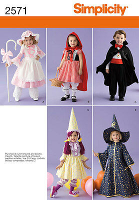 Sewing Pattern Simplicity 2571 Toddlers Costumes Bo Peep Little Red Riding Hood