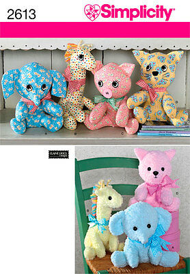 Sewing Pattern Simplicity 2613 Two Pattern Price Animals One Size Sale