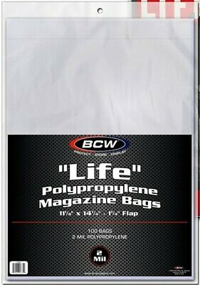 Lot of 100 BCW Life Magazine Size Poly Bags + 100 Acid Free Backer Boards