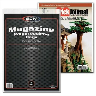 300 BCW Magazine NON-RESEALABLE 2-Mil Poly Bags + Acid Free Backer Boards