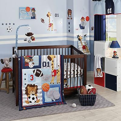 Lambs & Ivy Future All Star 5 Piece Baby Crib Bedding Set Includes Bumper  NEW