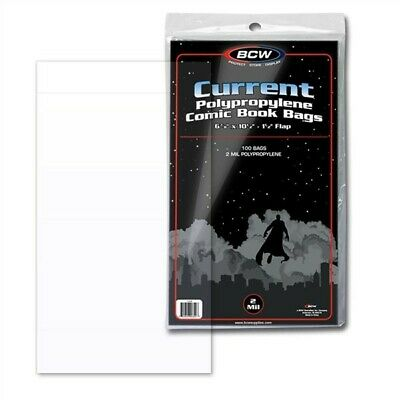 300 BCW Current Modern Age Comic Book 2-Mil Poly Bags +Acid Free Backer Boards