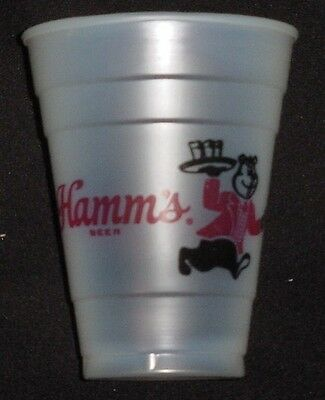 """4 Vintage Plastic Hamm's Beer Glasses With Hamm's Bear Carrying a Tray  4 1/4"""""""