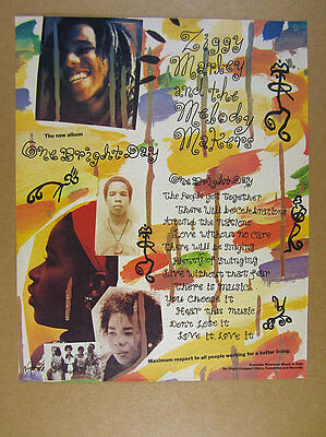 1989 Ziggy Marley & the Melody Makers photo One Bright Day album promo print Ad