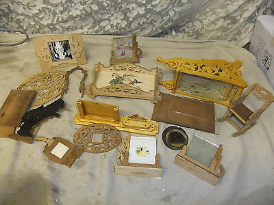 Fretwork HUGE assortment picture frames trays etc 100's of Hours work 19x11x3cm