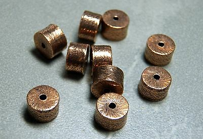 ANTIQUE COPPER BRUSHED HEISHI METAL SPACER BEADS 9x6mm (10)