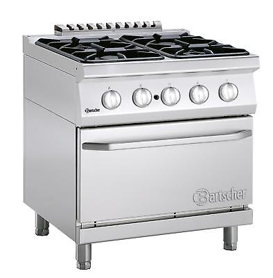 Bartscher 2852341 - Gas stove, 4 burners with gas oven 2/1 GN Series 700