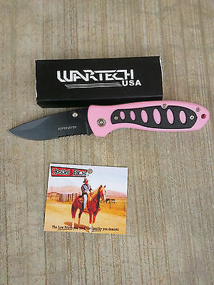 TOUGH-1 Pink Super Bitch Pocket Knife Western English Horse Tack