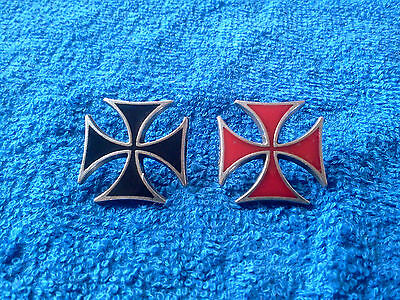 2 His & Hers GOTHIC MALTESE IRON CROSS MOTORCYCLE BIKER CHOPPER PEWTER PINS.New