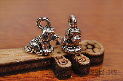 10pcs Charm 3D cute dog Tibetan silver pendant Diy Jewelry Making Bracelet 7240