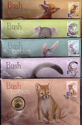 2011 PNC Bush Babies Complete Set of 5 covers with Special Uncirculated $1 Coin