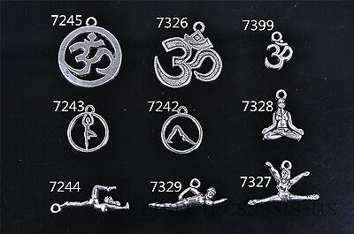 10/20s Charm Silver Pendant YOGA Style DIY Jewelry making Fit Bracelet Necklace