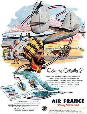 Going to Calcutta India AIR FRANCE AIRLINE Constellation PLANES 1953 Magazine Ad