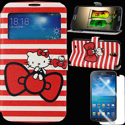 Case+Screen Protector  for Samsung Galaxy Mega 6.3 Cover PU Leather Hello Kitty