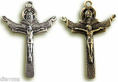 TRINITY CRUCIFIX - Jesus Christ Cross Pendant - God the Father Son & Holy Spirit