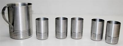 Vtg ALUMINUM PITCHER AND CUP SET drinking glass metal tumbler art deco 50s mod