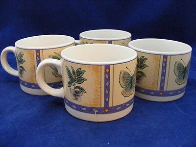 4 Gibson China Cups Mugs Butterfly Design