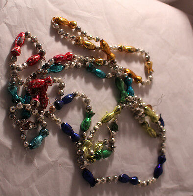 Vintage Christmas Garland Mercury Glass Beads Fish Multicolor 90 inches