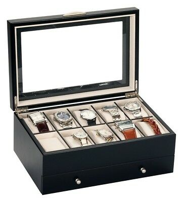Mens Gents Black Finish Wooden 10 Watch Display Case Wood Storage Box Mele 432