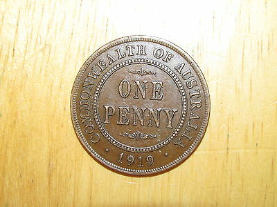 Australia 1919 Penny no Dots coin Extremely Fine nice