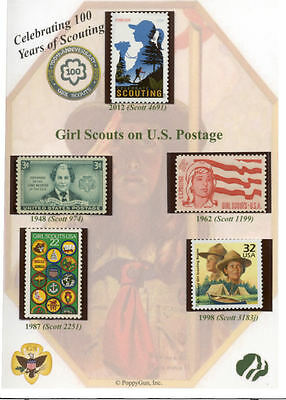 GIRL SCOUTS: 100 Years of SCOUTING 5x7 Card w/ ACTUAL U.S. POSTAGE STAMPS