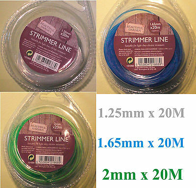 20M STRIMMER LINE WIRE Replacement electric TRIMMER Patio Grass 1,25 1,65 2mm