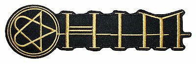 """""""HIM"""" Gold Heartagram Band Logo Love Metal Embroidered Iron On Applique Patch"""