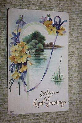 Vintage Postcard My Love And Kind Greetings, Lake With Yellow Flowers