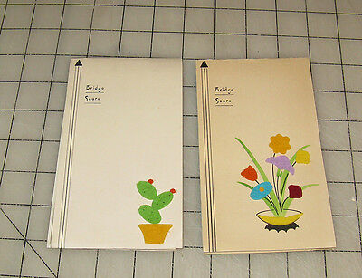 2 (1930s) Felt Flowers 3-D ART-DECO Bridge Tally Score Pad ~ Nice