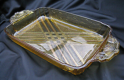 Rare Antique EAPG Pattern Glass Amber Panelled Wee Blossoms Ice Cream Tray
