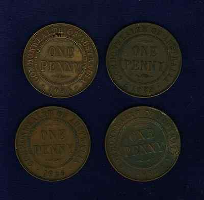 AUSTRALIA GEORGE V 1932, 1933, 1934, & 1936 PENNY COINS, GROUP LOT OF (4)