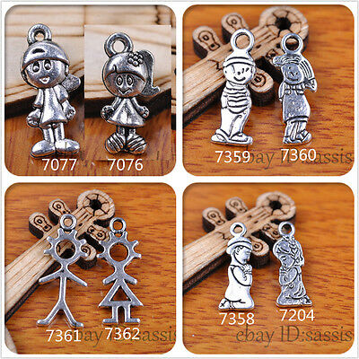 20pcs Charm boy girl silver pendant 4 style DIY Jewelry Making Fit Bracelet