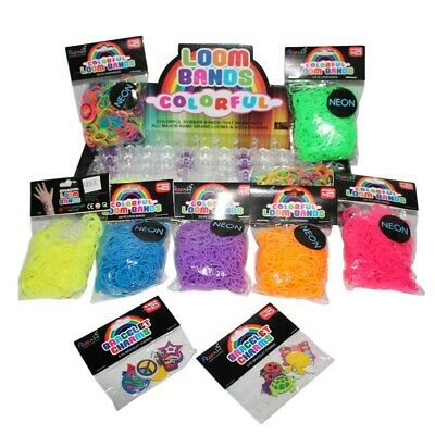 2600pce Beaded Neon Colour Loom Bands Kit with 12 Loom Charms, 90 S Hooks & 1 Lo