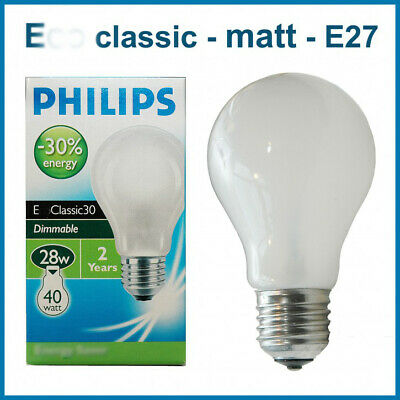 Philips classic A ECO E27 28W (40W) matt frosted, 2000h, Energy Saver
