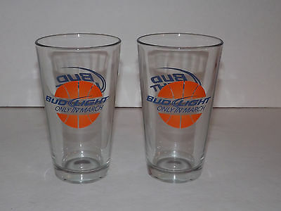 Pair of 2 Bud Light March Madness Pint Beer Glasses