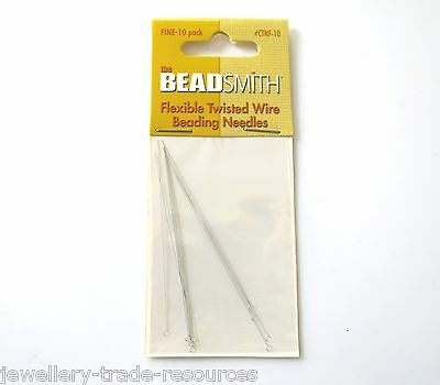 Fine Beading Wire Needles Stringing Threaders Beads & Pearls Pack Of 10