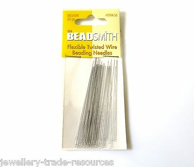 Medium Beading Wire Needles Stringing Threaders Beads & Pearls Pack Of 50
