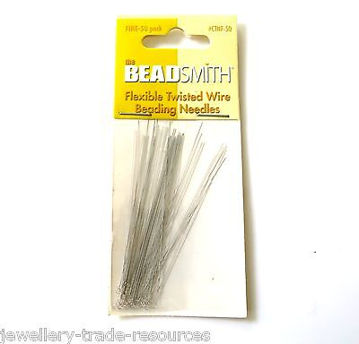 Fine Beading Wire Needles Stringing Threaders Beads & Pearls Pack Of 50