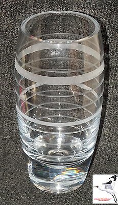 Retro Vase Engraved Etched Glass or Crystal Weighted 1950s/60s Household Item