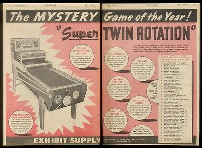 1952 Exhibit Supply Twin Rotation coin-op pool game machine   trade ad