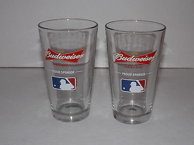 Pair of 2 Budweiser Draught MLB Pint Beer Glasses