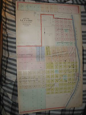 Large Antique 1905 Le Claire Walcott Buffalo Scott County Iowa Handcolored Map N