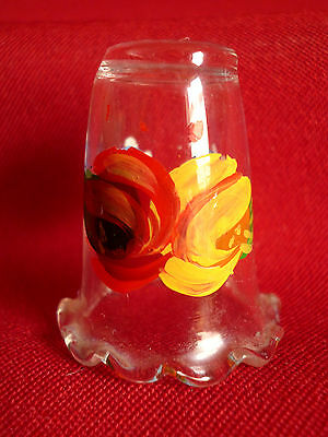 Hand Painted Floral  Design  Glass thimble