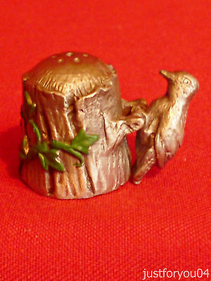 Pewter - The Woodpecker on a Tree Collectors Thimble